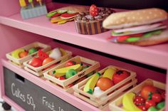 Kids playshops, play shops for children, pretend food stall, children's role play, play market stall, play food, wooden food for kids, children's play shops, play trolley for children, wooden fruit toys