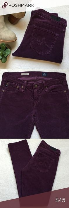 """{AG} Stevie Slim Straight Cords AG The Stevie slim straight plush cords. 5 pocket styling. 15 1/2"""" flat across waist. 7 1/4"""" front rise. 29"""" inseam. Color: Plum. Good preloved condition. (Photo 4 shows cords in different color to represent style and fit). AG Adriano Goldschmied Pants Straight Leg"""