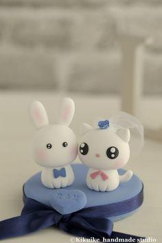 Love cat & rabbit wedding cake topper