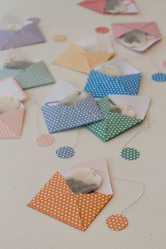 Cute idea....DIY mini envelope tea bags