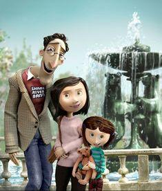 Como eu amo esse filme <3 ~Fotografia da Coraline e seus pais Rara foto da Coraline com cabelo castanho :3