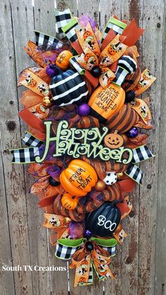 Halloween 2014, Halloween Party Costumes, Happy Halloween, Halloween Stuff, Halloween Ideas, Halloween Mesh Wreaths, Fall Wreaths, Halloween Decorations, Fall Decorations