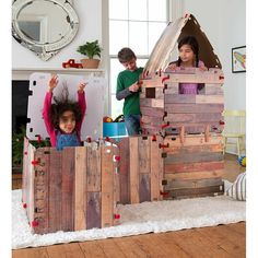 Our Fantasy Fort Set includes Velcro connectors and cardboard carton clips so kids can easily build (and rebuild) the fort of their dreams! Outdoor Toys For Boys, Outdoor Play, Kids Play Teepee, Play Tents, Fort Building Kit, Fort Kit, Play Tunnel, Cardboard Cartons, Cardboard Playhouse