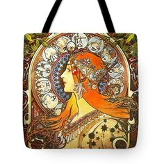 La Plume Zodiac Tote Bag by Alphonse Mucha All Fashion, Fashion Bags, Carpet Bag, Thing 1, Alphonse Mucha, Poplin Fabric, Bag Sale, Zodiac, Reusable Tote Bags