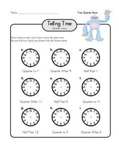 Telling time to the nearest quarter is difficult; help your child practice with this free worksheet! #tellingtime #tellingtimepractice #printableclocks #freeworksheets