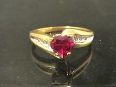 Vintage 10k Solid Gold Heart cut Ruby & by wandajewelry2013, $145.00