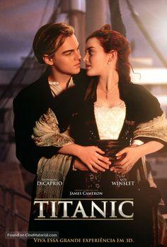 """Titanic"" movie poster - Leonardo DiCaprio & Kate Winslet - Jack and Rose Titanic Le Film, Titanic Movie Poster, Titanic Rose, Famous Movie Posters, Titanic Photos, Famous Movies, Iconic Movies, Good Movies, Titanic Art"