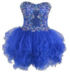 very cheap royal blue corset prom dresses with poofy poffy rulles for juniors
