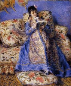 """Camille Monet Reading"" by Pierre Auguste Renoir. Camille was wife and frequent model of Claude Monet, Renoir was friends to both and spent time visiting and painting along-side Claude Pierre Auguste Renoir, Edouard Manet, Claude Monet, August Renoir, Renoir Paintings, Art Paintings, Art Gallery, Clark Art, Impressionist Paintings"