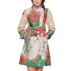 Printed Tie Coat. No idea where to even start to find a fabric like that but I'll try. This would be bad ass as a raincoat in particular because I like bright things in gloomy weather.