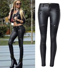 Glenda Moto Skinny Jeans - The Wild Flower Shop    Looking stylish has never been easier! Be proud to flaunt some curves in this skinny with a fitted cut and tapered legs. A wardrobe essential that matches with all tops for a chic street outfit! • Zip front closure • 2 back pockets • Weight 290 gram Material: PU leather      $33
