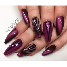 Do you like purple nail design? If you decide to use purple youre in the right place. We all heard that different colors have different meanings. Purple represents mystery passion gentleness romance and elegance. Today we have collected 64 tr Purple Nail Art, Purple Nail Designs, Nail Art Designs, Nails Design, Love Nails, My Nails, October Nails, Cat Eye Nails, Latest Nail Art