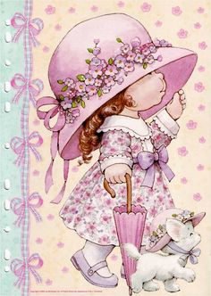 Ruth Morehead - Holly Hobbie ish Pink Girl with White Kitty