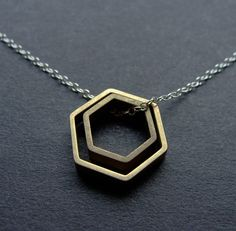 Paired Hexagons Silver and Brass Contrast by LaurenHauptJewelry, $38.00