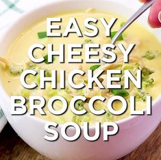 Easy Cheesy Chicken Broccoli Soup Recipe – a delicious, hearty, creamy and cheesy broccoli soup with tons of shredded chicken flavor that the whole family will love! Naturally low carb cheesy chicken broccoli soup that is paleo and keto diet compatible. Chicken Broccoli Soup, Keto Chicken Soup, Broccoli Soup Recipes, Stew Chicken Recipe, Keto Soup, Cheesy Chicken, Cream Of Chicken Soup, Brocoli Soup, Chicken Rice