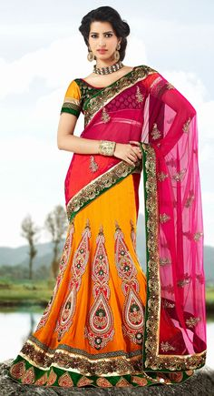 Majesty Deep Orange & Pale Yellow Embroidered Saree
