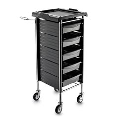 Light and practical hairdresser trolley with non-slip top, lateral hooks for drawers and hairdryer holder. 5  drawers removable from both sides, chrome steel frame and 4 big rubber wheels.  #salonfurniture #trolley #madeinitaly #hairdresser #musthave #artecno #hairsalon #furniture