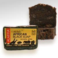 African Black Soap is one of the healthiest soaps for the skin due to the purity and simplicity of the ingredients. Hand made using age-old traditional techniques from pure virgin oils and unrefined shea butter, with potash produced from the ashes of plantain leaves and bark from a local Togo tree called agow.