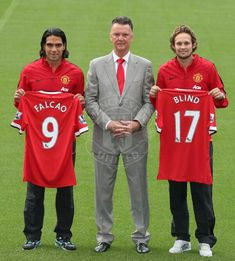 Falcao, Louis van Gaal and Daley Blind at Old Trafford. Welcome to the Theatre of Dreams !!!