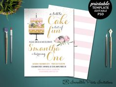 Printable Girl First Birthday Party Invitation. Birthday Cake Party Invitation Template. Girl First Birthday Invitation. Cake Party Invite by HandmadeIncredible on Etsy