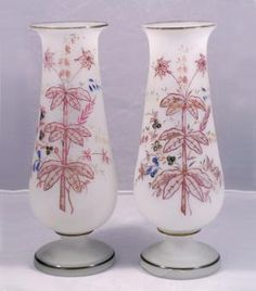 Victorian Bristol Glass Mantel  Vases