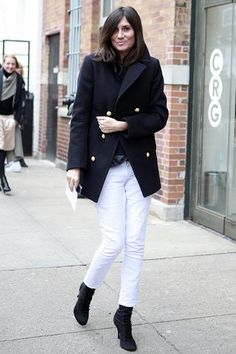 EA in bright white jeans in Winter with a classic navy peacaot. LOVE it.