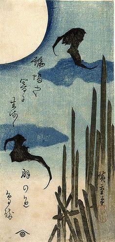 bats in moonlight 1830 Hiroshige | by mica12244art