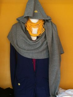 Jun E Caniel hooded scarf, Jun E Caniel cardigan and CLAMOR upcycled t-shirt scarf