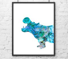 Watercolor Print Hippo - Animal Art - Painting Blue