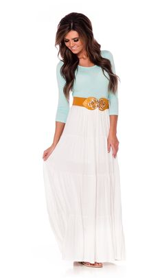 Light Mint White Maxi Dress | Affordable Modest Boutique Clothes for Women | Trendy Modest Church Dresses