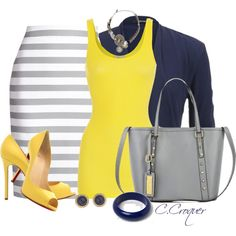 Navy+Grey+Yellow by ccroquer on Polyvore featuring iHeart, maurices, Kate Spade, River Island, Vanity Her, Dorothy Perkins and Christian Louboutin