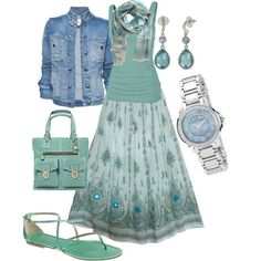 Gorgeous broom skirt, tank top, faded denim jacket