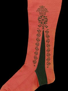 V   Silk stockings, hand-embroidered, 1750-1770. T.34.