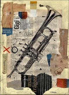 PRINT Trumpet Jazz -  Mixed media collage By Mirel E.Ologeanu. $6.91, via Etsy.