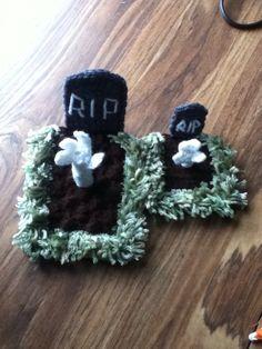 Halloween crochet decoration tombstones