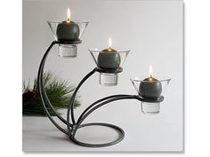 Hand-forged iron candleholders fit in anywhere and make wonderful gifts for so many occasions! With a creative switch of candle colors, you can totally change their seasonal or decor focus. Metal Candle Holders, Candle Stand, Pie In The Sky, Black Candles, Art N Craft, Room Accessories, Scandinavian Home, Modern Rustic, Metal Art