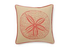16x16 Sand Dollar Pillow, Coral on OneKingsLane.com