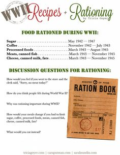Food Rationing and Recipes in World War II
