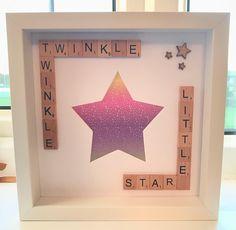 Baby Scrabble Photo Box Frame. Twinkle Twinkle Photo Frame. Baby Shower Gift. Christening Gift. #scrabbleboxframe #scrabblephotoframe #babyshower #babygift #christeninggift