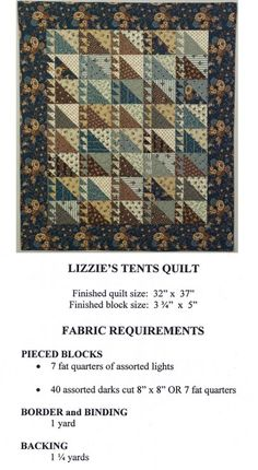 Lizzie's Tent Quilt  I like these colors together