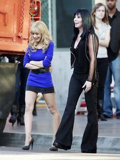 Cher and Christina Aguilera filming Burlesque