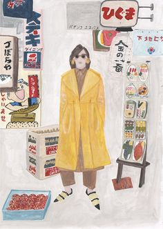 Celine coat and japanese signs, gouache on paper 2016 Sainte Maria