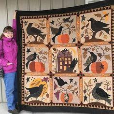 Blackbird Designs, Halloween Quilts, Halloween Projects, Fall Quilts, Kona Cotton, Blanket Sizes, Quilt Patterns, Handmade Items, Crafty