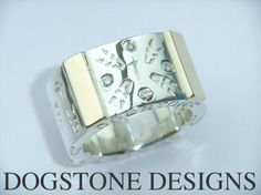 Men's Chunky Silver & Gold Diamond Dogstone Ring  Contact - 0161 491 0624