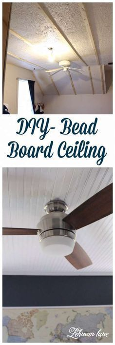 Come check out how we covered our popcorn ceiling with Bead Board