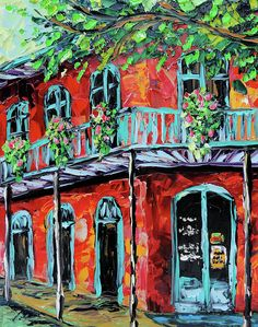 New Orleans Oil painting - Red House Art Print by Beata Sasik. All prints are professionally printed, packaged, and shipped within 3 - 4 business days. Choose from multiple sizes and hundreds of frame and mat options. Bourbon, Louisiana Art, New Orleans Art, House Painting, Landscape Art, Cool Artwork, Home Art, Fine Art America, Art Photography
