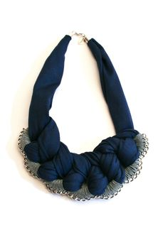 chunky statement bib, crochet necklace navy blue and grey braided chain. €49.00, via Etsy.
