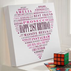 21st Birthday Gift for Her of Typographic Love Heart (Canvas Print). Beautiful Personalised Word Art Gifts to Commemorate a Landmark Birthday. Easy to Create, Preview on Screen Before You Buy & Fast Free Delivery. Create Now…