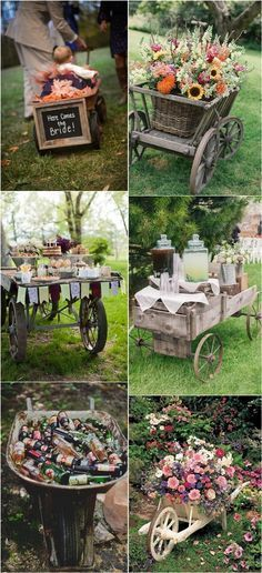 Rustic Wagon Wheelbarrow Wedding Decor Ideas / http://www.deerpearlflowers.com/wagon-wheelbarrow-country-wedding-ideas/