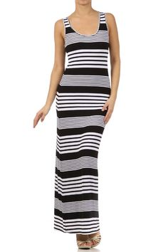 Black and white stripped maxi dress.    Valleygirl Boutique
